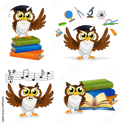 Foto op Aluminium Uilen cartoon Wise Owl Set