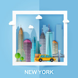 New York. Skyline and vector landscape of buildings and famous landmarks. Paper Style. Vector illustration. - 139705132