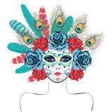 Mask with Roses and Feathers