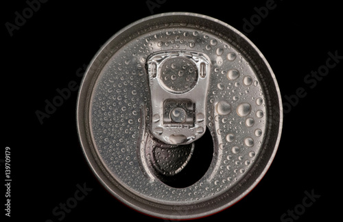 top of a can tin with water drops closeup on a black background Poster