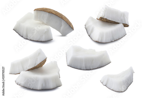 Poster Coconut set pieces 3 isolated on white background