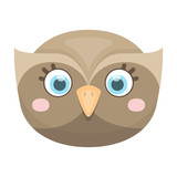 Owl muzzle icon in cartoon style isolated on white background. Animal muzzle symbol stock vector illustration.
