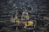 London at night - Saint Paul Cathedral and the buildings beside.