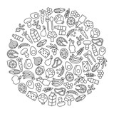 set of minimalistic healthy food icons - 139718948