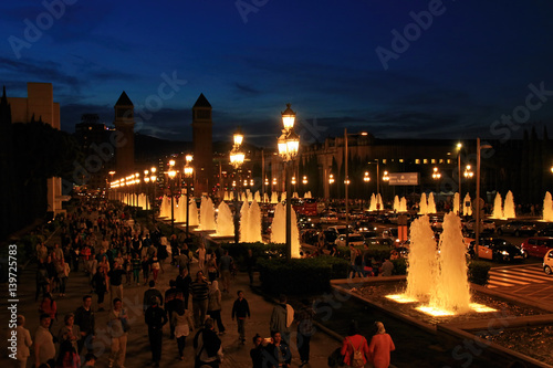 Fountains of the Font Magica in Barcelona at night, Spain