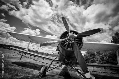 Foto Murales Old airplane on field in black and white