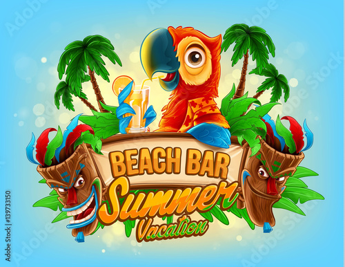 summer vacation illustration for beach bar