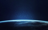 Blue planet Earth. Illustration of homeworld, ecology and science. Elements furnished by NASA