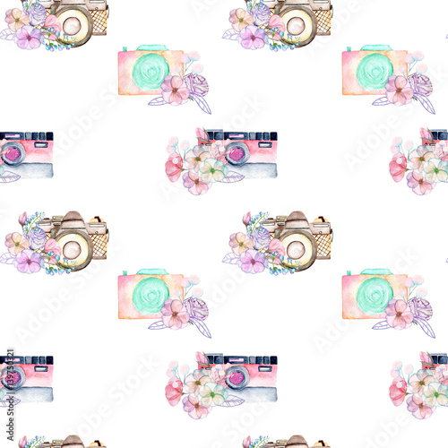 Seamless pattern with watercolor retro cameras in floral decor, hand drawn isolated on a white background - 139750321
