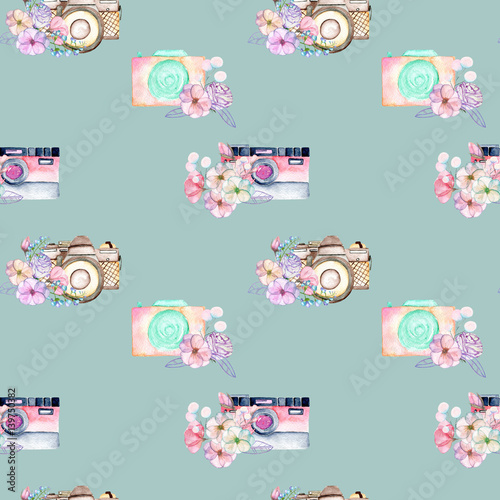 Seamless pattern with watercolor retro cameras in floral decor, hand drawn isolated on a blue background - 139750382
