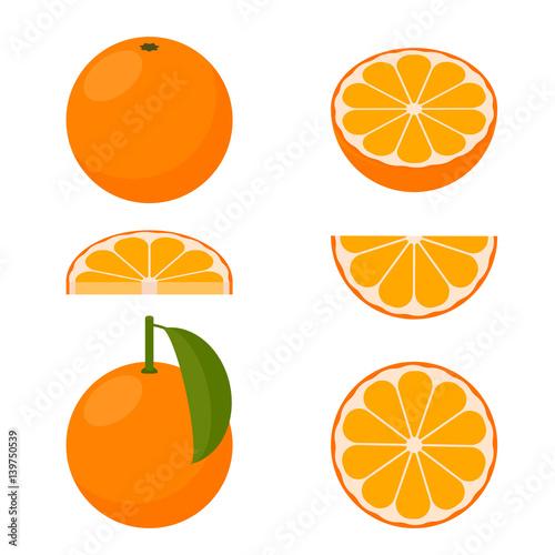 Pomarańczowy wektor. Zestaw ikon.