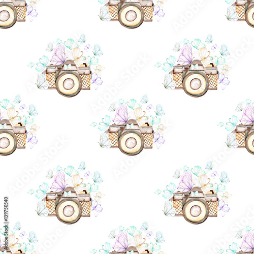 Seamless pattern with watercolor retro cameras and butterflies, hand drawn isolated on a white background - 139750540