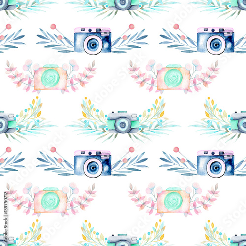 Seamless pattern with watercolor retro cameras in floral decor, hand drawn isolated on a white background - 139750712