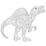 Stylized spinosaurus dinosaur of the middle Cretaceous period, isolated on white background. Freehand sketch for adult anti stress coloring book page with doodle and zentangle elements.