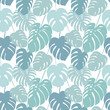 Cotton fabric Seamless pattern with tropical monstera leaves.