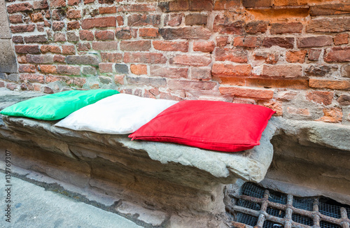 Foto op Canvas Milan Pillows with italian colours along city street