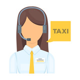 Fototapety Girl in a white shirt with headphones.Call centre manager takes a taxi booking. Taxi station single icon in cartoon style vector symbol stock illustration.