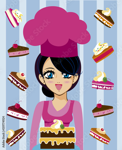 manga chef with cakes - 139774924
