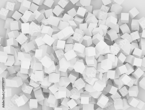 Cubes scattered on the surface. Rendered elements. 3d abstract background.  © DmiT
