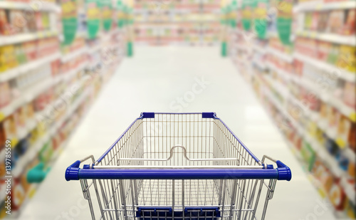 Keuken foto achterwand Boodschappen Abstract blurred photo of supermarket with empty shopping cart shopping concept.