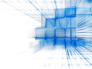 Abstract background element. Three-dimensional composition of intersecting grids. Information technology concept. Blue and white colors.