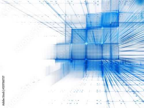 Abstract background element. Three-dimensional composition of intersecting grids. Information technology concept. Blue and white colors. - 139786757