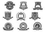 College or university vector icons or emblems set