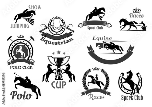 Horse racing club emblems or vector icons set