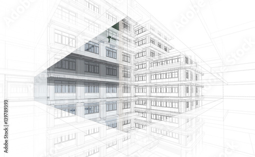 Streszczenie tło architektury. Perspektywy 3d Model szkieletowy budynku