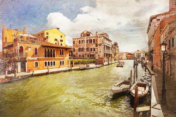 architecture of Venice. Italy. Retro style.