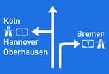 Hinweisschild BAB 1 Köln, Hannover, Bremen, Oberhausen - 139802500