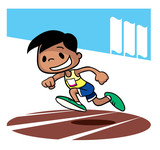 Sprint race competition. Cartoon character. Vector illustration
