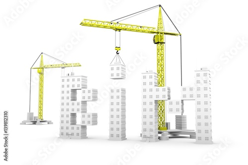 bim in the form of skyscraper and construction crane 3D illustration