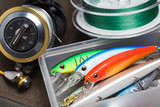Closeup of a fishing box with colorful lures. - 139831972