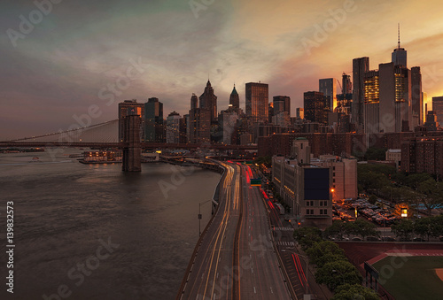 New York City at Sunset, USA Poster