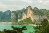 Ton Sai beach and Railay west beach aerial view from rock. Krabi province, Thailand