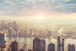 New York city skyline in the morning, sunrise in background. - 139837978