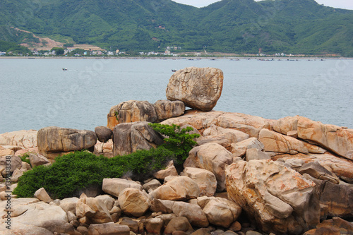 Travel to Vietnam, landscape with sea and rocks on the coast