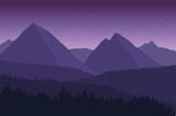View of the mountain landscape with its forests and hills under a purple sky with stars - vector.