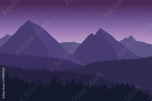 Fotobehang Aubergine View of the mountain landscape with its forests and hills under a purple sky with stars - vector.