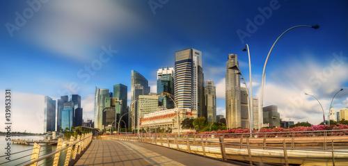 Aluminium Singapore Skyline and view of Marina Bay