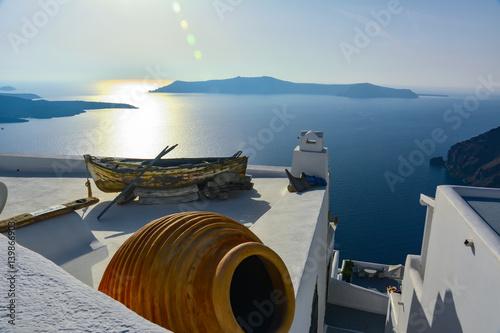panorama of the island of Santorini in Greece