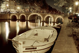 Lights on canal bridges at night Amsterdam, Netherlands