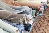 Rolls of natural linen cloth, close up
