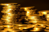 Close up gold money coin stacking on dark background - 139908764