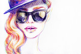 Woman in sunglasses. Fashion illustration. Watercolor painting