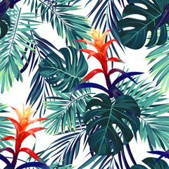 Hand drawn seamless floral pattern with guzmania flowers, monstera and royal palm leaves. Exotic hawaiian vector background.