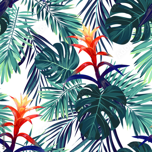 Materiał do szycia Hand drawn seamless floral pattern with guzmania flowers, monstera and royal palm leaves. Exotic hawaiian vector background.