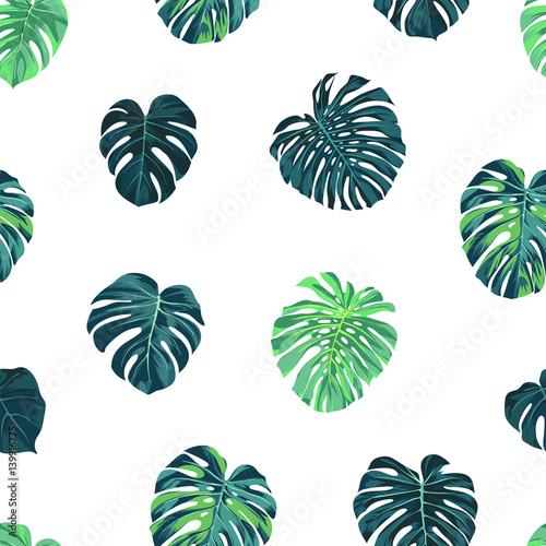 Materiał do szycia Seamless vector tropical botanical pattern with green monstera palm leaves. Exotic hawaiian fabric design.