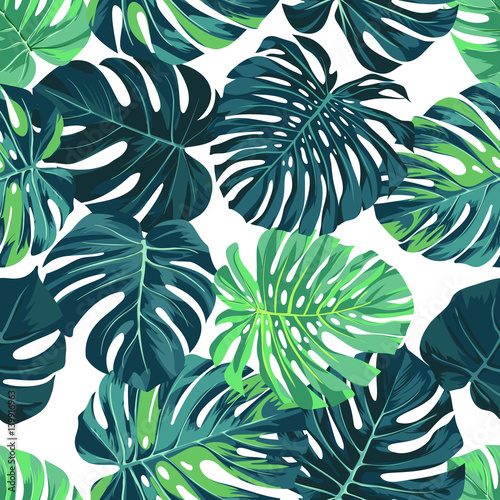Materiał do szycia Vector seamless pattern with green monstera palm leaves on dark background. Summer tropical fabric design.